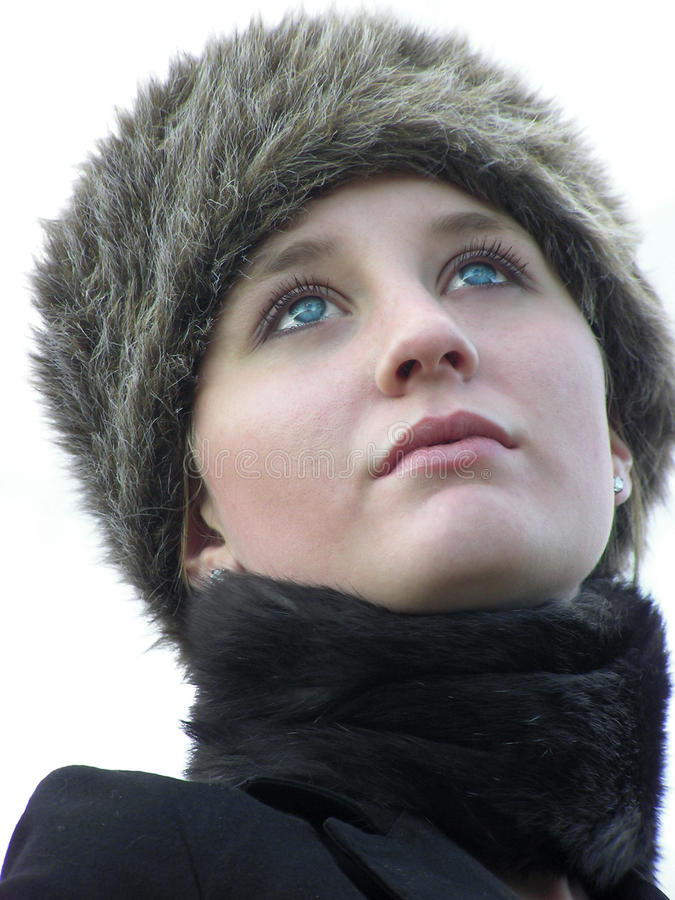 L'hiver de chapeau de fourrure photographie stock libre de droits