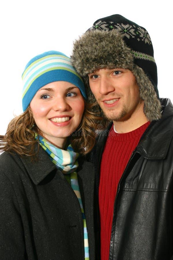 l'hiver de couples image libre de droits
