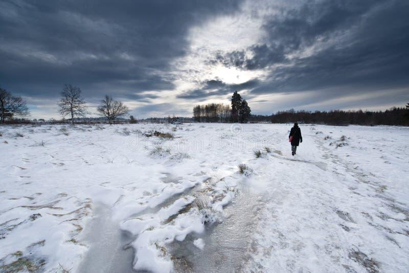 l'hiver de marche d'horizontal images stock