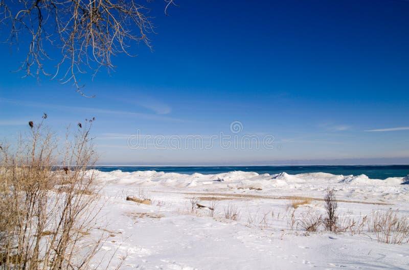 l'hiver de Michigan de lac photos stock