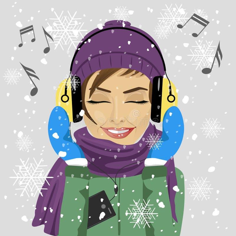 L'hiver de port de jeune femme vêtx écouter la musique avec des écouteurs en hiver sous des chutes de neige illustration stock