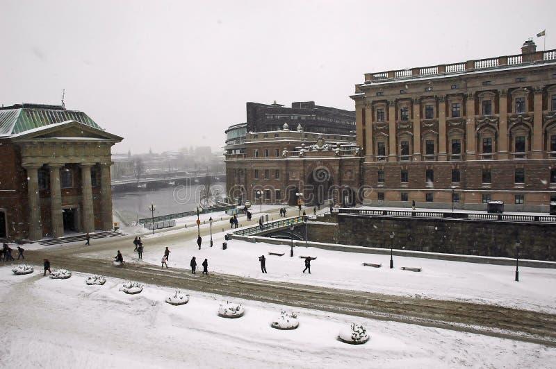 L'hiver de Stockholm du Parlement photo libre de droits