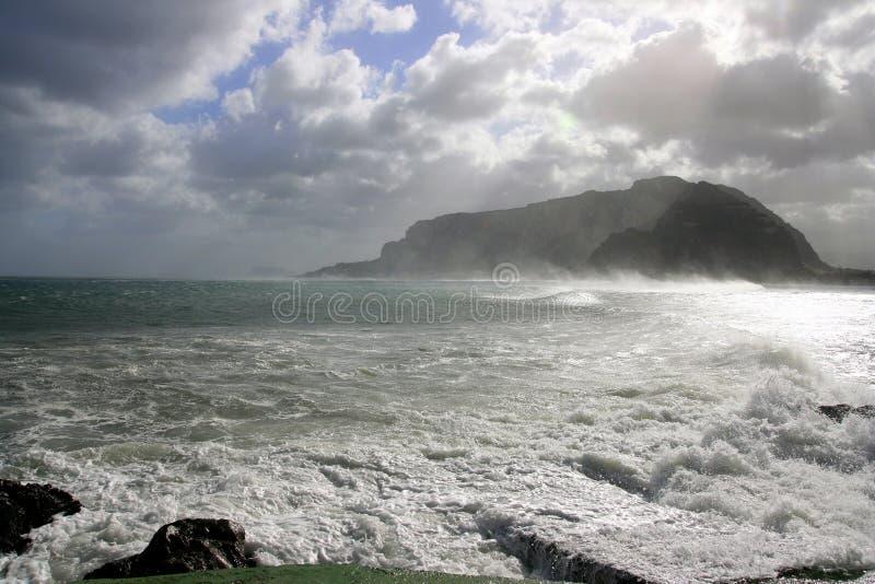 l'hiver de tempête de mer de panorama image libre de droits