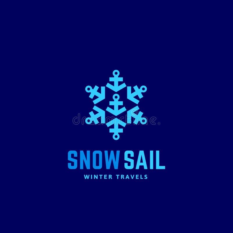 L'hiver de voile de neige voyage signe, emblème ou Logo Template abstrait de vecteur Symbole de flocon de neige fait d'ancres cré illustration stock