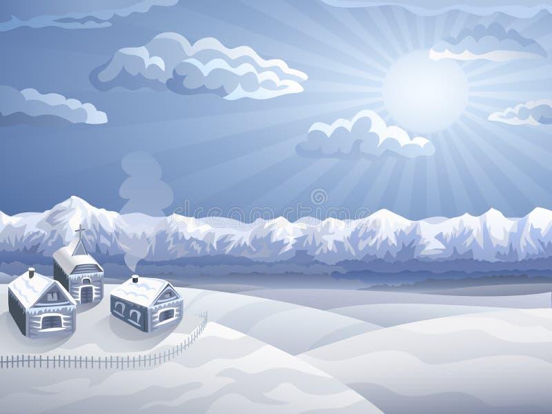 l'hiver des montagnes de village illustration stock
