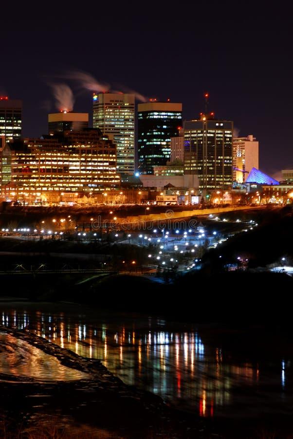 l'hiver du centre de nuit d'Edmonton photographie stock