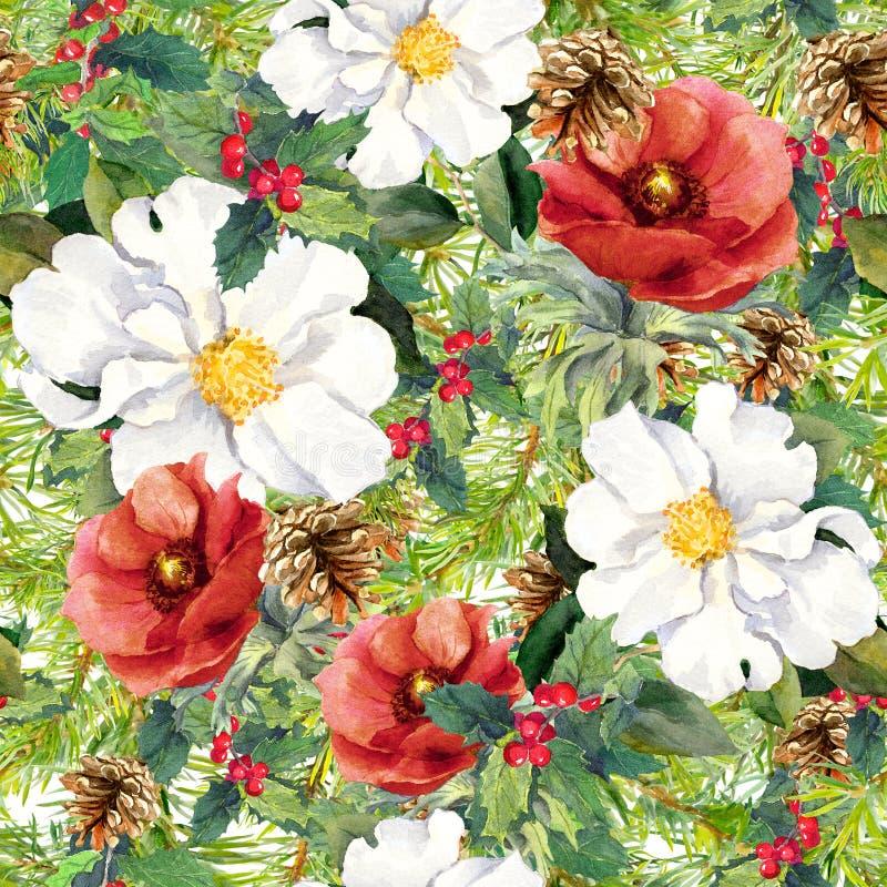 L'hiver fleurit, des branches de pin, cônes, gui Noël de fond sans joint watercolor illustration libre de droits