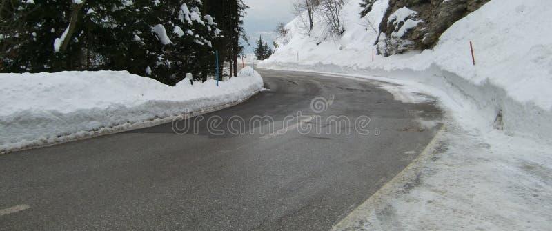 l'hiver glacial de scène de route image libre de droits