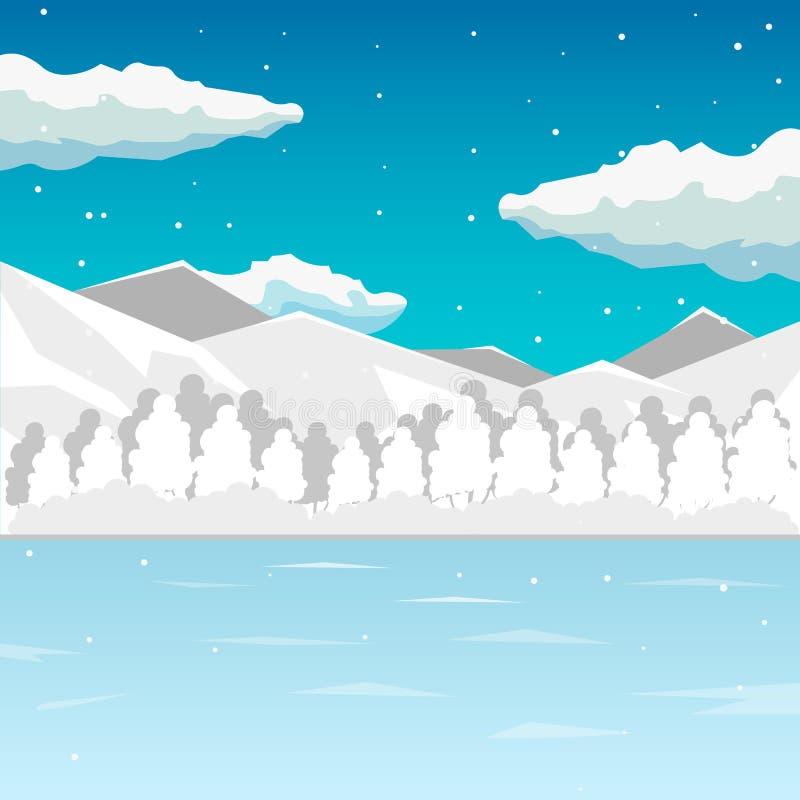 L'hiver La mer et la montagne aménagent en parc, l'illustration interminable, fond de bande dessinée pour le concepteur du jeu Em illustration de vecteur