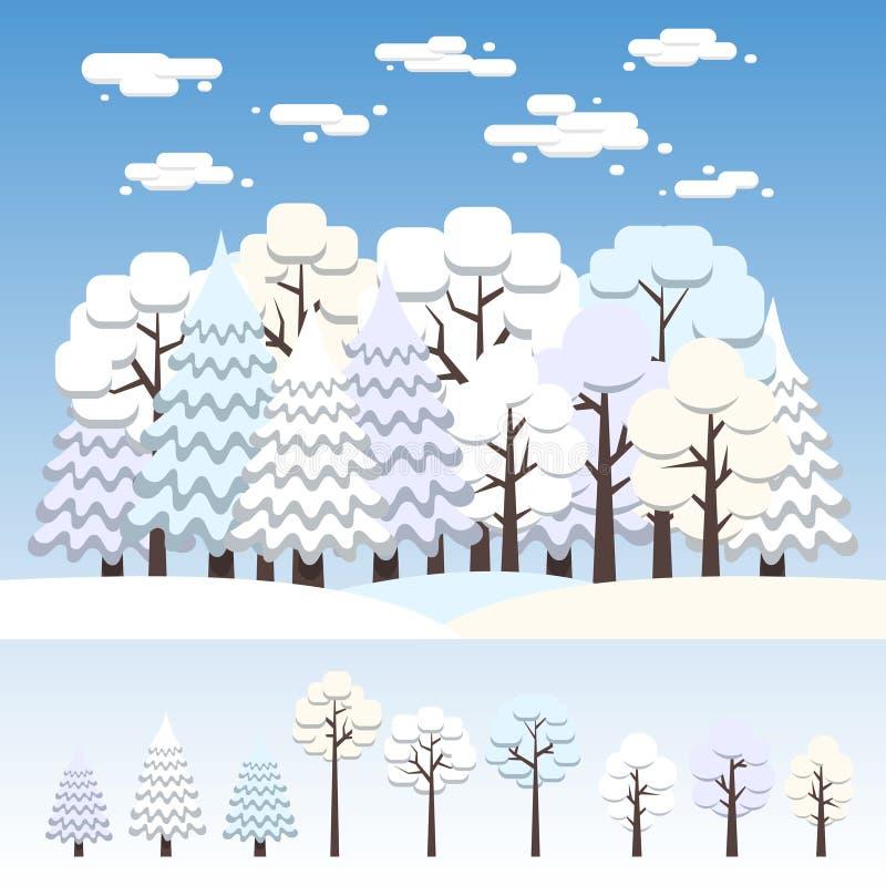 L'hiver a mélangé la forêt couverte de neige illustration de vecteur