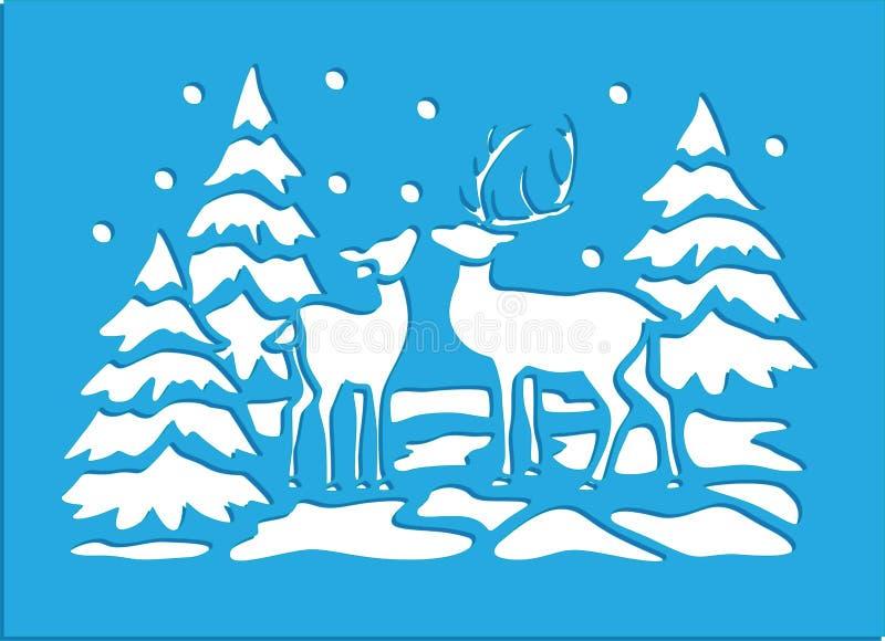 L'hiver marque au poncif des cartes illustration libre de droits