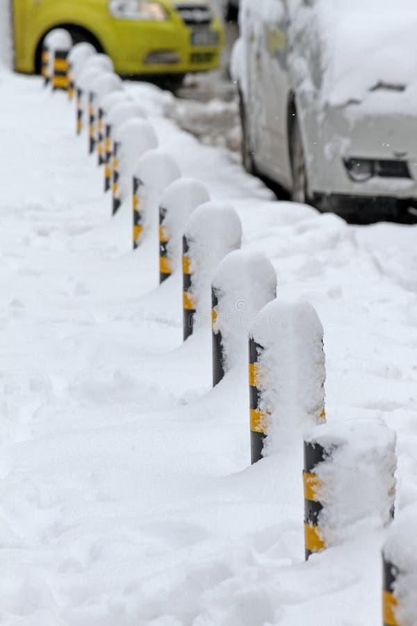 L'hiver Neige dans la ville image stock