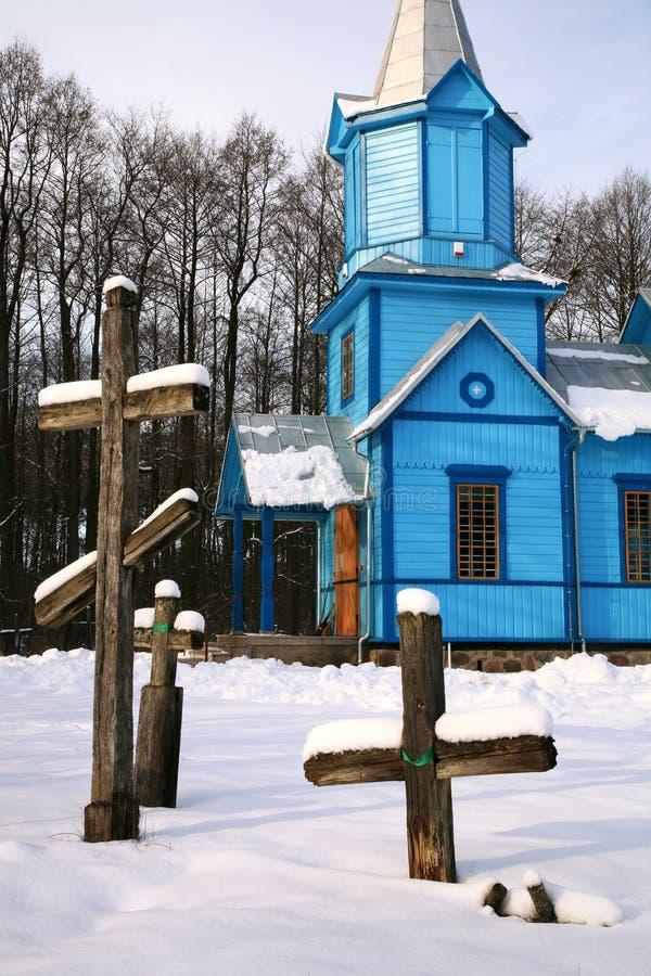 l'hiver orthodoxe de la Pologne de koterka bleu d'église photos libres de droits
