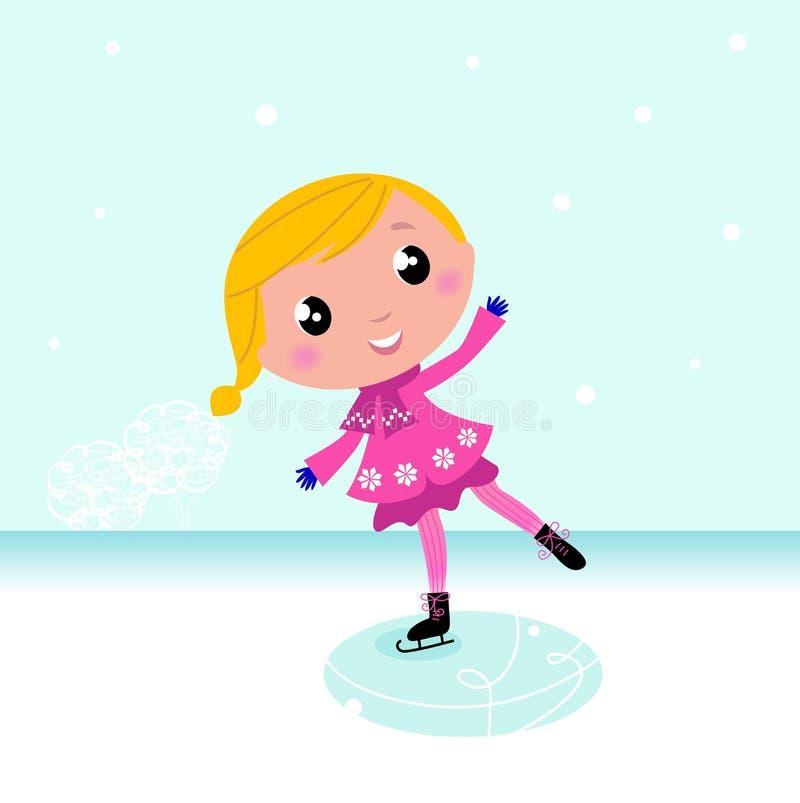 L'hiver : Patinage de glace mignon d'enfant sur le lac figé illustration libre de droits