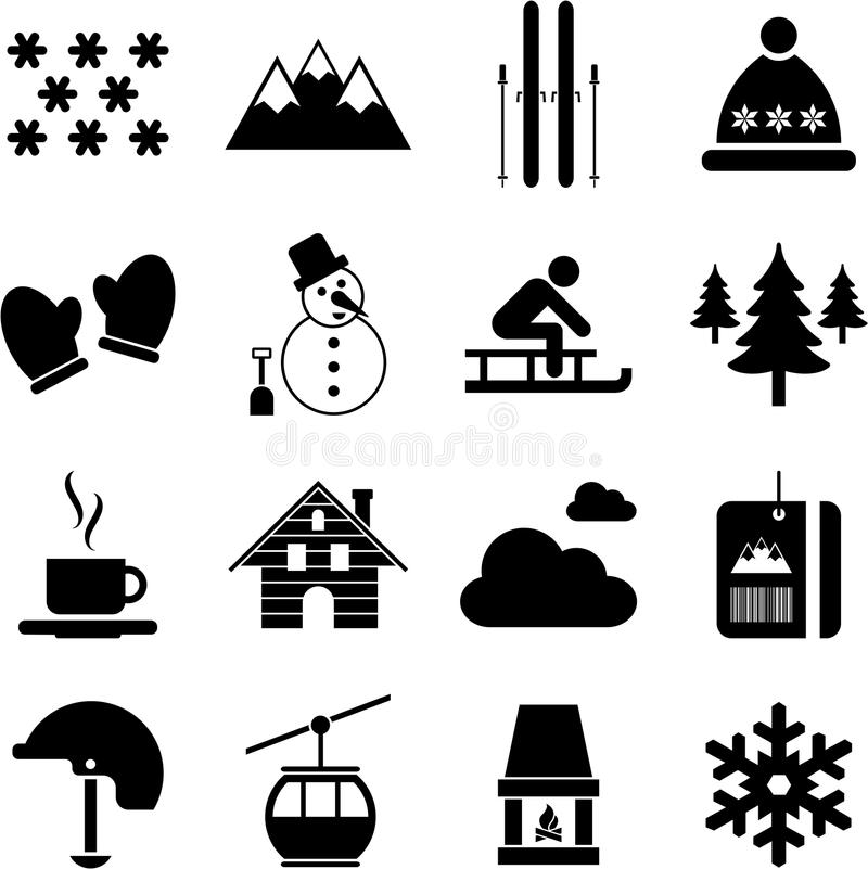 L Hiver/pictogrammes Alpestres/ski Image libre de droits