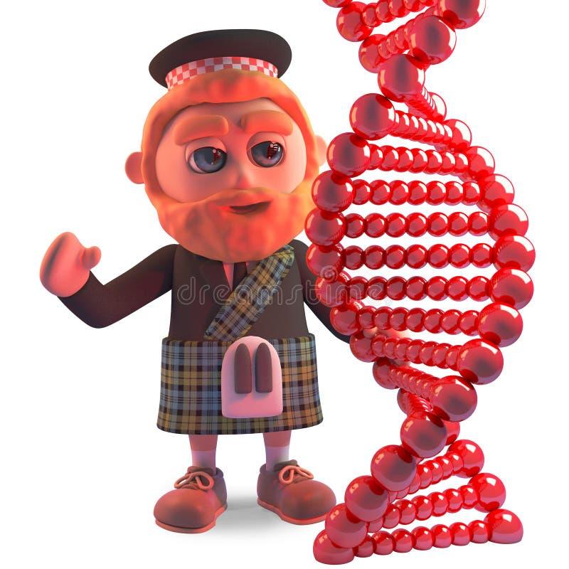 L'homme écossais dans le kilt étudie un brin de gène d'ADN, l'illustration 3d illustration stock