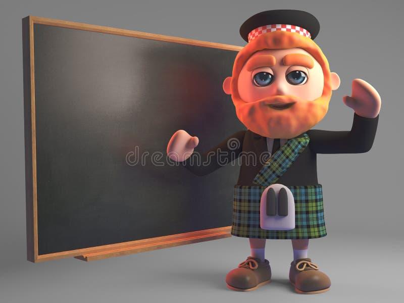L'homme écossais instruit dans le kilt enseigne la classe au tableau, l'illustration 3d illustration libre de droits