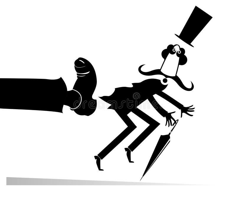 L'homme a été donné un coup-de-pied à l'illustration d'âne illustration libre de droits