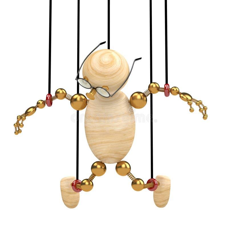 l'homme 3d en bois a suspendu sur des lacets illustration stock