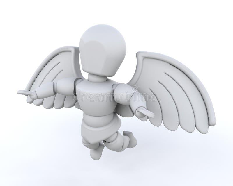 l'homme 3d rendent des ailes illustration de vecteur