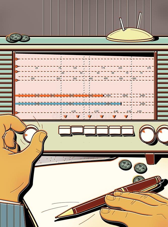 L'homme accorde la vieille radio, attrape l'onde radio Transmission des informations classifiées L'analyse financière intervalle illustration stock