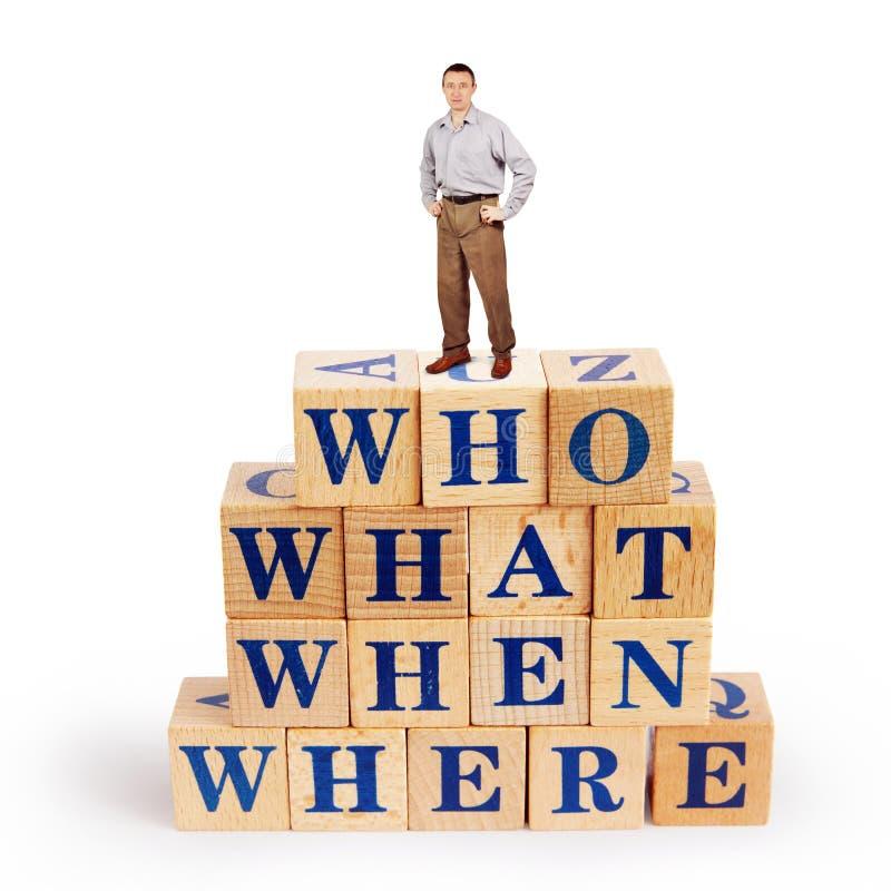 L'homme adulte se tient sur un tas des blocs en bois avec les questions qui ce qui quand où photographie stock libre de droits