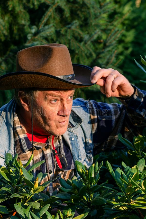 L'homme adulte supérieur ou un agriculteur, dans un chapeau de cowboy brun, regarde o image libre de droits