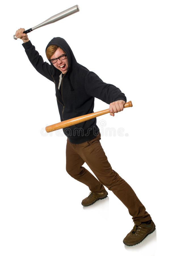 L'homme agressif avec la batte de baseball d'isolement sur le blanc photos libres de droits