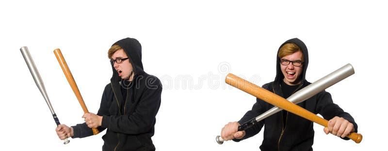 L'homme agressif avec la batte de baseball d'isolement sur le blanc photo stock
