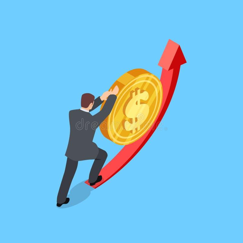 L'homme aide le dollar pour se lever illustration de vecteur Concept isométrique de finances illustration de vecteur