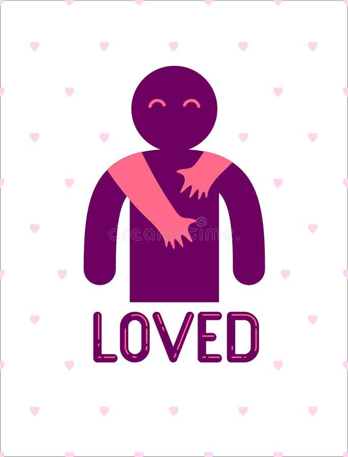 L'homme aimé avec des mains de soin d'une femme d'amant étreignant et caresse ses épaules, logo d'icône de vecteur ou illustratio illustration de vecteur