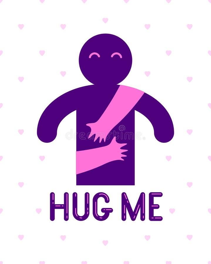 L'homme aimé avec des mains de soin d'une femme d'amant étreignant et caresse son coffre, logo d'icône de vecteur ou illustration illustration stock