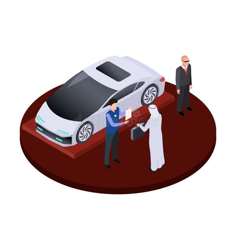 L'homme arabe isométrique achète le concept moderne de vecteur de voiture électrique Illustration automatique de luxe de salon illustration stock