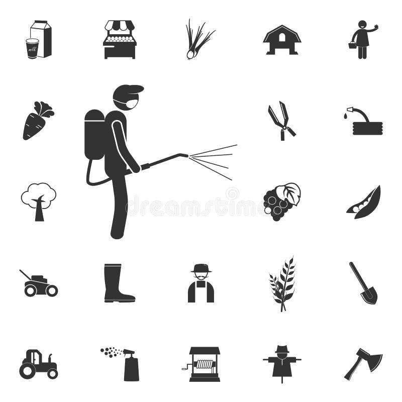 l'homme arrose l'icône d'agents chimiques Élément de l'agriculture et de garde illustration de vecteur
