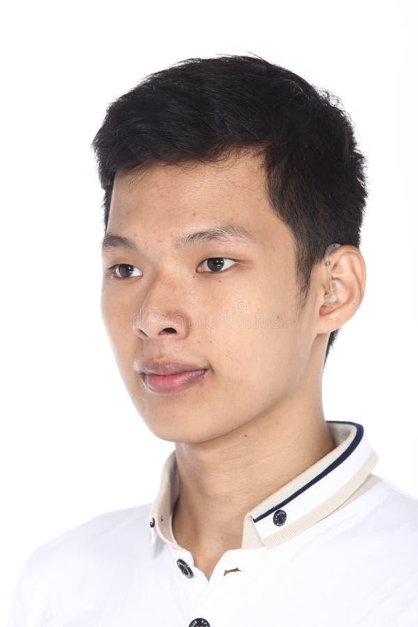 L'homme asiatique avant composent la coiffure aucun retouchez, nouveau visage photo stock