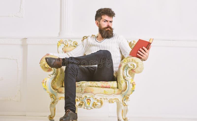 L'homme avec la barbe et la moustache s'assied sur le fauteuil et la lecture, fond blanc de mur Connaisseur de concept de littéra image stock