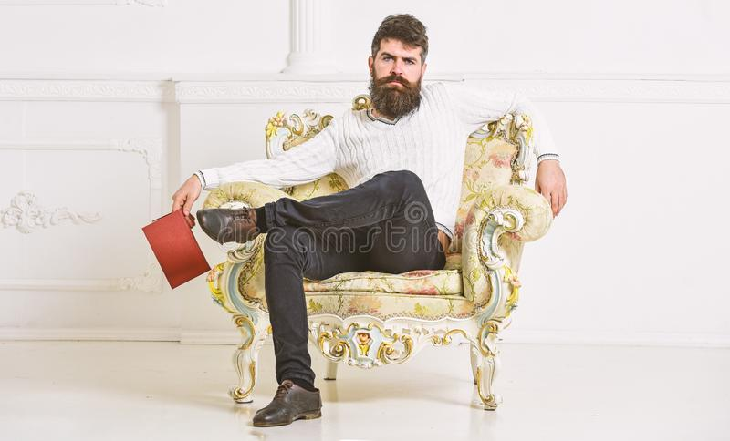 L'homme avec la barbe et la moustache s'assied sur le fauteuil et la lecture, fond blanc de mur Le connaisseur, professeur appréc photos stock