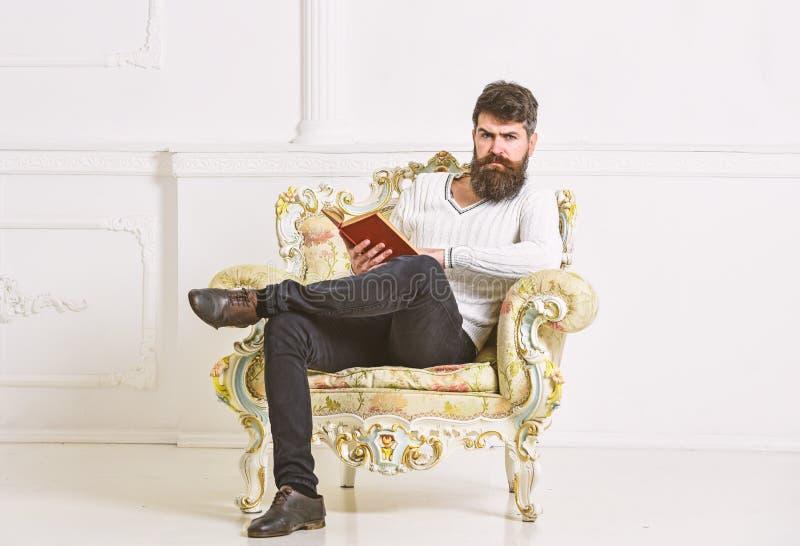L'homme avec la barbe et la moustache s'assied sur le fauteuil et la lecture, fond blanc de mur Le connaisseur, professeur appréc photo libre de droits