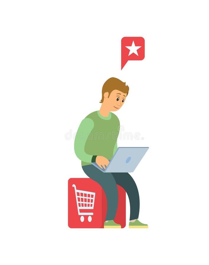 L'homme avec l'ordinateur portable font des achats dans l'Internet d'isolement illustration stock
