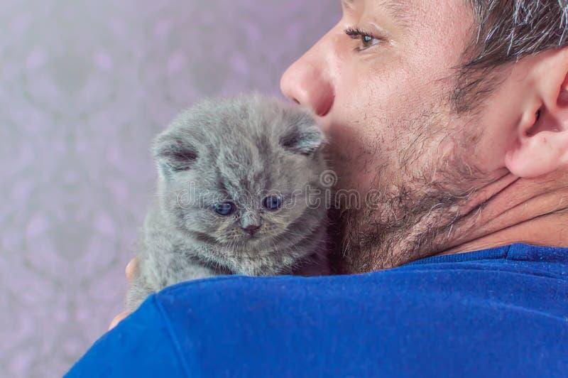 L'homme barbu embrasse un petit chaton image libre de droits