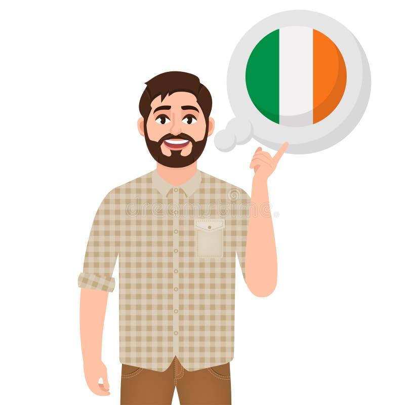 L'homme barbu heureux dit ou pense au pays de l'icône de l'Irlande, du pays européen, du voyageur ou du touriste illustration libre de droits