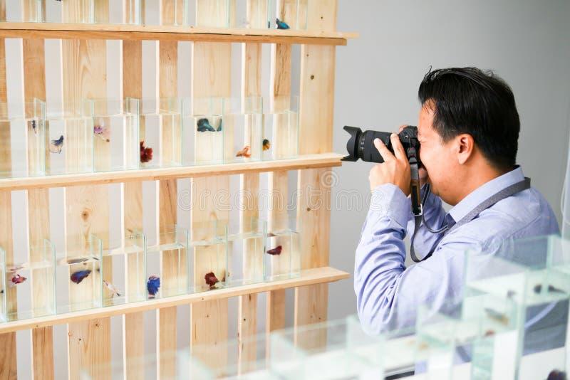 L'homme bel asiatique prend une photo dans une boutique de poissons images stock