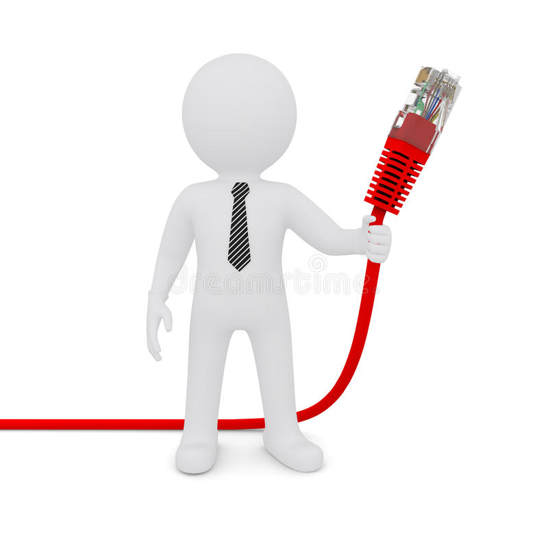 L'homme blanc retenant un câble rouge de réseau illustration stock