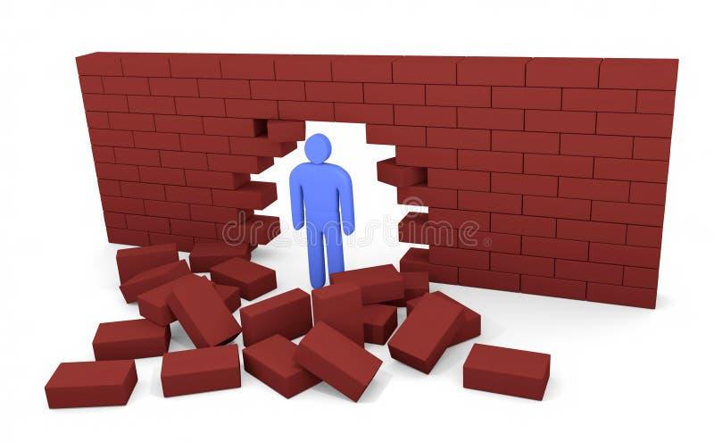 L'homme a cassé le mur de briques illustration stock