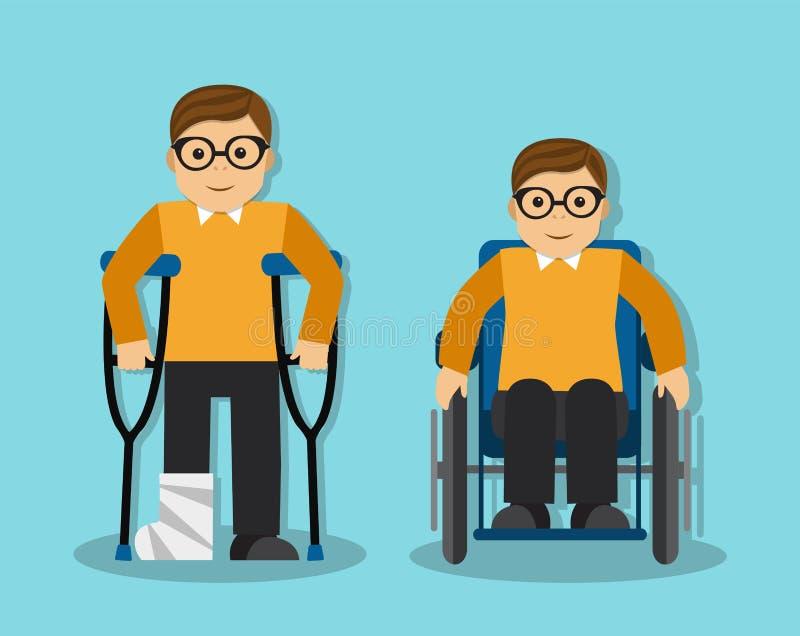 L'homme a cassé sa jambe et l'homme est handicapé illustration stock
