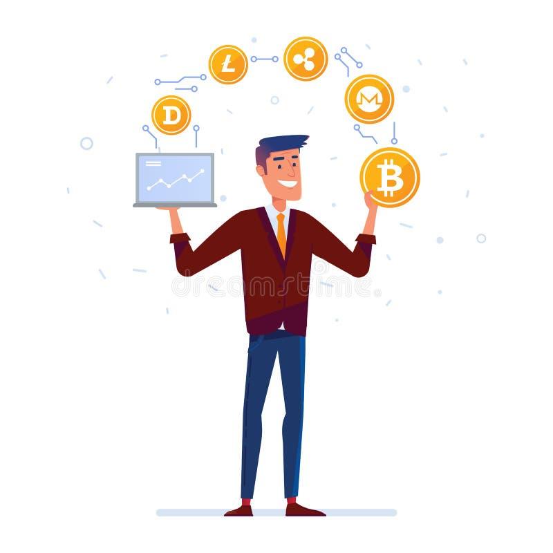 L'homme caucasien jongle avec de cryptos pièces de monnaie de devise illustration de vecteur