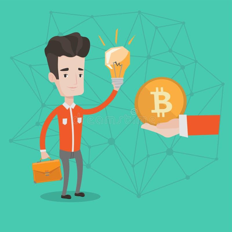 L'homme caucasien obtenant la pièce de monnaie de bitcoin pour commencent  illustration de vecteur