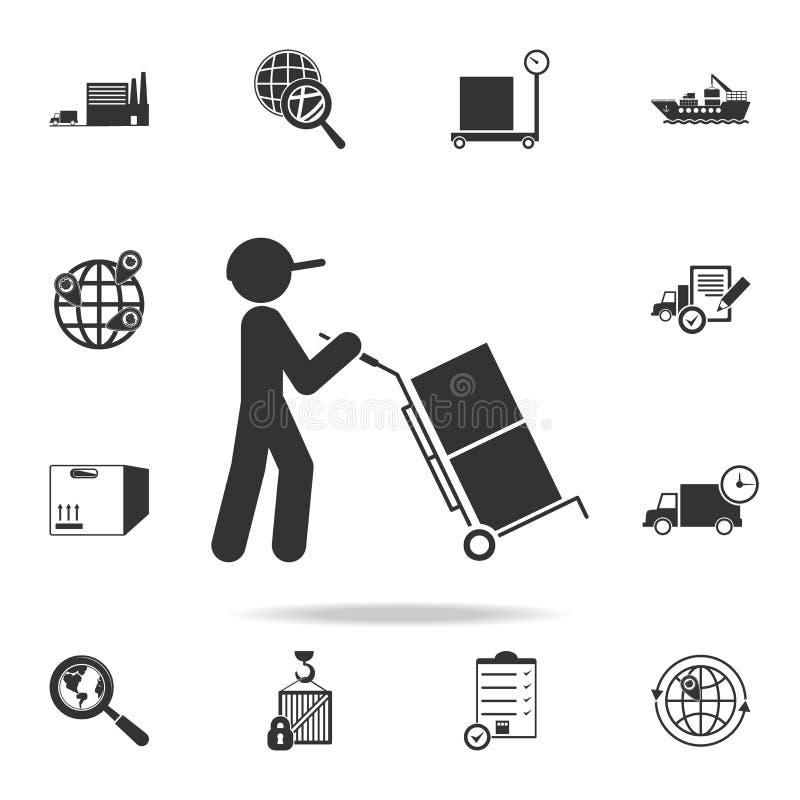 l'homme conduit des caisses d'emballage dans une icône de chariot Ensemble détaillé d'icônes logistiques Conception graphique de  illustration libre de droits
