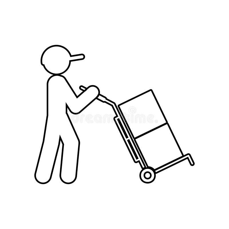 l'homme conduit des caisses d'emballage dans une ic?ne de chariot ?l?ment de logistique pour le concept et l'ic?ne mobiles d'appl illustration stock