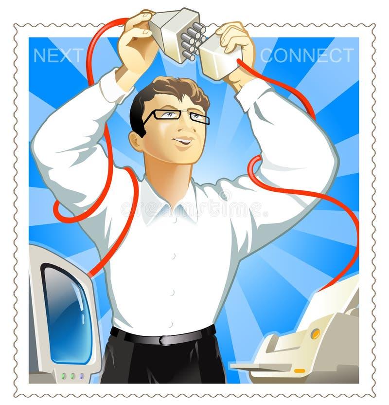 L'homme connectent l'imprimante et l'ordinateur illustration de vecteur